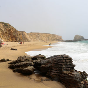 Coastline and beach in Santa Cruz, CA.